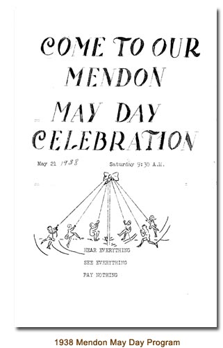 1938 Mendon May Day Program.