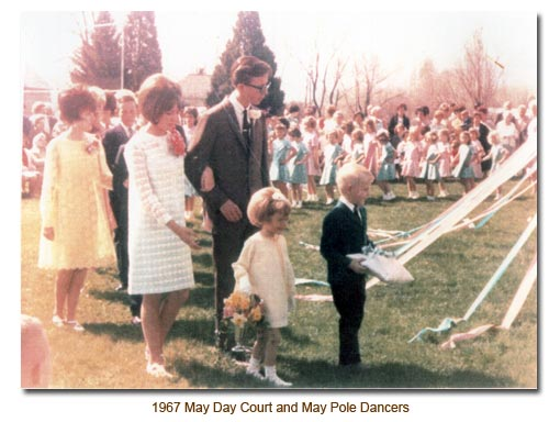 1967 May Day Court and the May Pole Dancers.